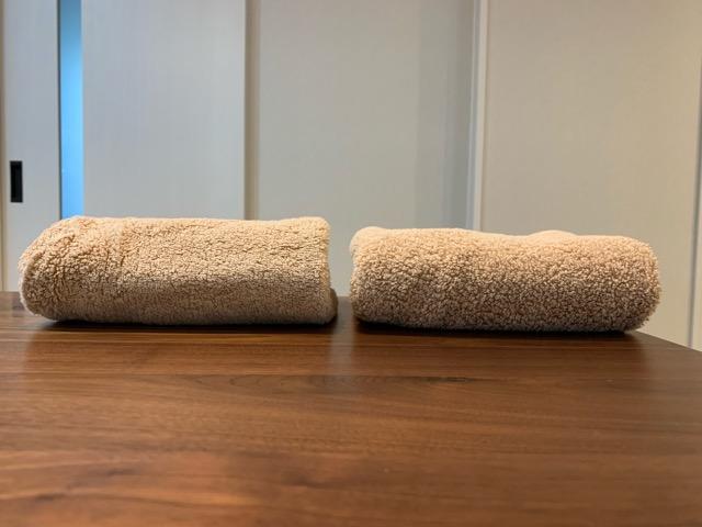 乾太くんで乾燥したタオルと洗濯乾燥機で乾燥したタオルの比較画像